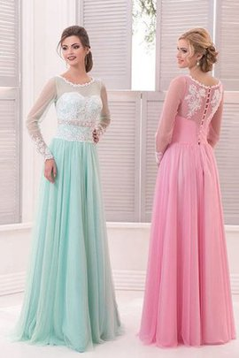 Tulle Beading A-Line Natural Waist Jewel Prom Dress