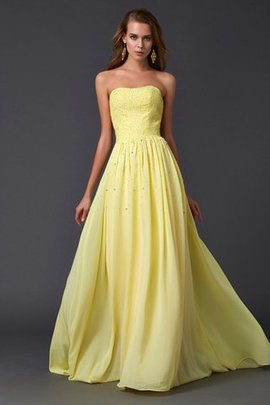 Draped Sweep Train Zipper Up A-Line Chiffon Prom Dress