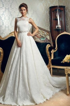 Appliques Lace Bateau Sleeveless Natural Waist Wedding Dress