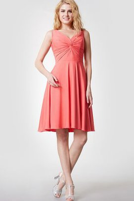 Sleeveless Chiffon A-Line Simple V-Neck Bridesmaid Dress
