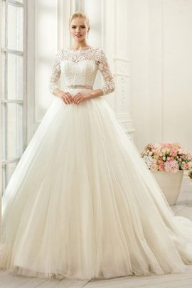 Ball Gown Appliques Pleated Modest Sashes Wedding Dress