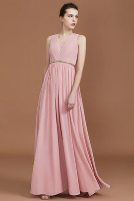 Natural Waist Chiffon V-Neck A-Line Alluring Ruched Princess Bridesmaid Dress