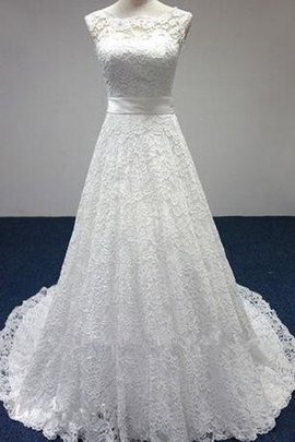 Pear Bateau Floor Length Sleeveless Lace-up Wedding Dress