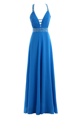 Romantic Simple Natural Waist Deep V-Neck Evening Dress
