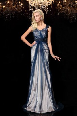 Wide Straps Sleeveless Appliques Sheath Evening Dress