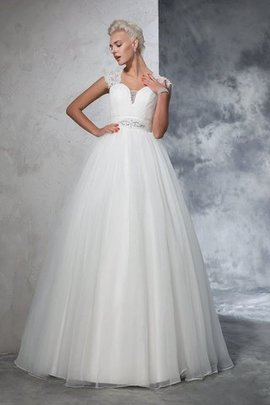 Ruched Long Empire Waist Sweep Train Ball Gown Wedding Dress