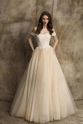 A-Line Lace Fabric Off The Shoulder Sweep Train Elegant & Luxurious Wedding Dress
