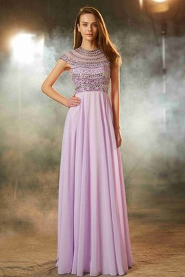 A-Line Chiffon Scoop Floor Length Short Sleeves Evening Dress