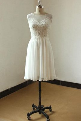 Scoop Short Sleeves Lace Chiffon Appliques Wedding Dress