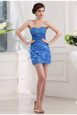 Beading Sweetheart Feathers Organza Sheath Bridesmaid Dress