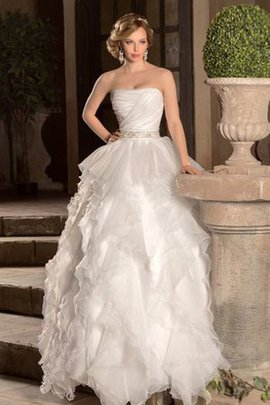 Sweep Train Organza A-Line Sleeveless Strapless Wedding Dress