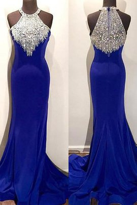 Beading Sweep Train Sleeveless Mermaid Natural Waist Prom Dress