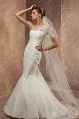 Mermaid Ruched Lace-up Court Train One Shoulder Wedding Dress