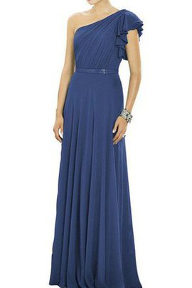 Chiffon One Shoulder Ruched Long Sleeveless Bridesmaid Dress