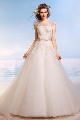 Long Capped Sleeves Modest Tulle Beading Wedding Dress
