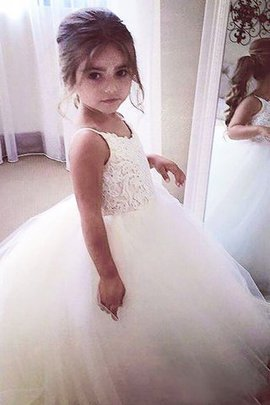 Lace Sleeveless Jewel Tulle Ball Gown Flower Girl Dress