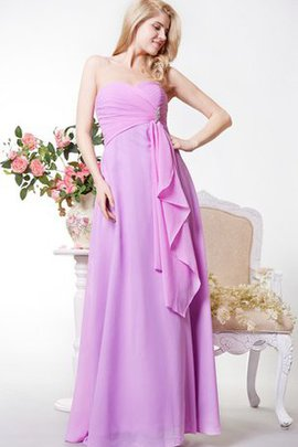Sheath Chiffon Draped Romantic Long Bridesmaid Dress