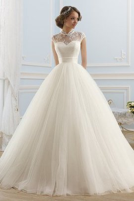 Lace Lace-up Capped Sleeves Sweep Train Modest Wedding Dress