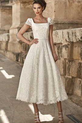 Elegant & Luxurious Short Sleeves Square Simple Wedding Dress