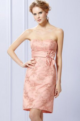 Embroidery Short Strapless Accented Bow Bridesmaid Dress