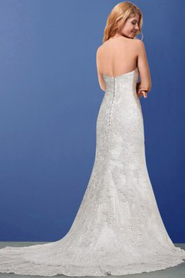 No Waist Outdoor A-Line Court Train Lace Wedding Dress