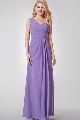 Pleated Floor Length A-Line Chiffon Sleeveless Bridesmaid Dress