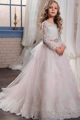 Long Sleeves Floor Length Tulle Natural Waist Lace Flower Girl Dress