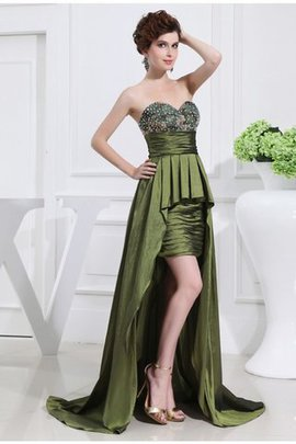 Zipper Up Taffeta Beading Sweetheart Asymmetrical Prom Dress
