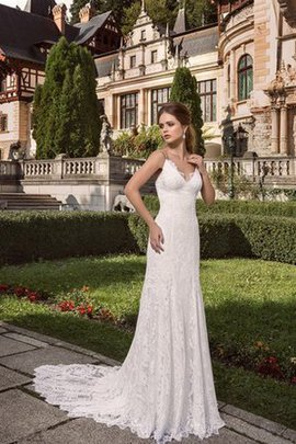 Zipper Up Simple V-Neck Court Train Floor Length Wedding Dress