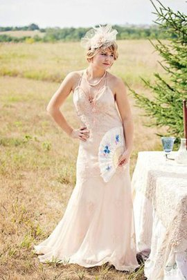 Sleeveless Lace Sweep Train Embroidery Pleated Wedding Dress