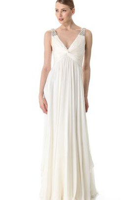 Empire Waist Sleeveless Beading Deep V-Neck Floor Length Wedding Dress