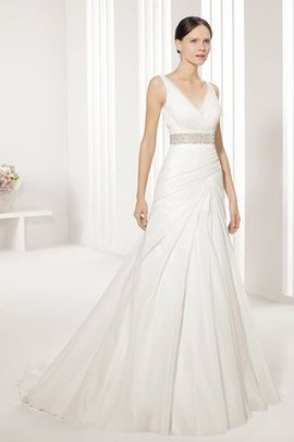 Taffeta V-Neck Rectangle Sleeveless Beaded Belt Wedding Dress