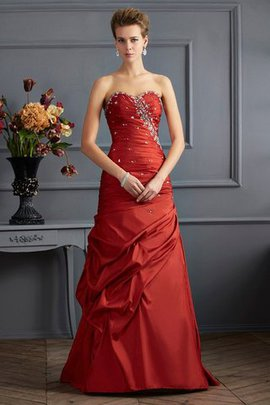 Floor Length Taffeta Sweetheart Lace-up Sleeveless Evening Dress