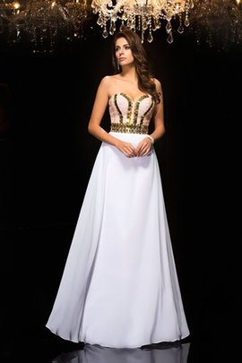 A-Line Natural Waist Chiffon Long Sleeveless Evening Dress