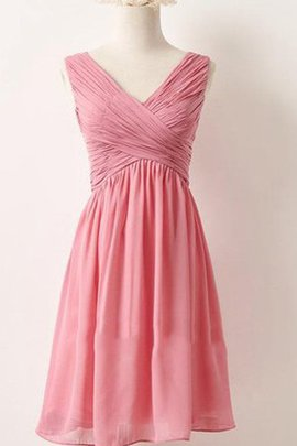 Ruffles Short Chiffon V-Neck Simple Bridesmaid Dress