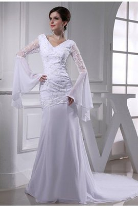 Long Mermaid Zipper Up Beading V-Neck Wedding Dress