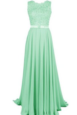 Appliques Sleeveless Scalloped-Edge Floor Length Lace Bridesmaid Dress