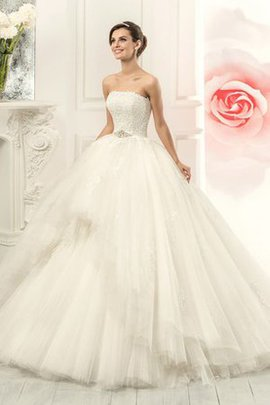Ball Gown Sleeveless Court Train Lace-up Tiered Wedding Dress