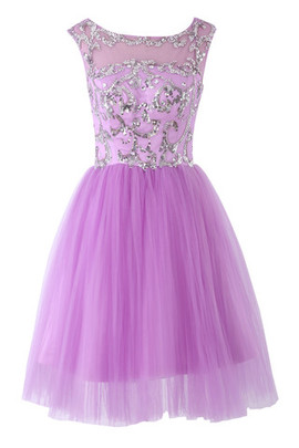 Wide Straps Tulle Outdoor Bateau Jewel Accented Cocktail Dress