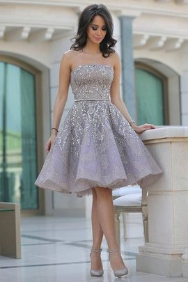 Sequins Knee Length Sequined Natural Waist Satin Homecoming Dress