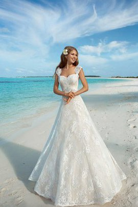 Lace Fabric Appliques Floor Length A-Line Square Wedding Dress