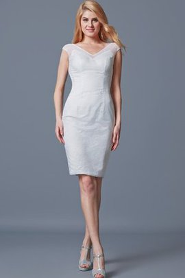Capped Sleeves Lace Knee Length Sheath Cocktail Dress
