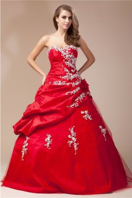 Sweetheart Taffeta Natural Waist Floor Length Long Prom Dress