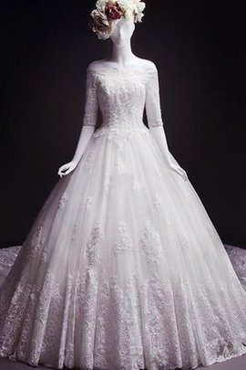 Tea Length Court Train Romantic Lace Fabric Bateau Wedding Dress