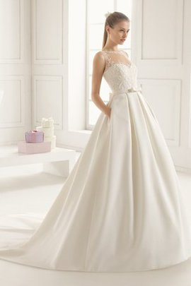 Flowers Rectangle Button Natural Waist Sleeveless Wedding Dress