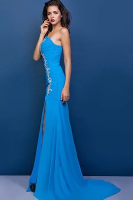 Appliques Front Slit Sweetheart Long Ruched Evening Dress