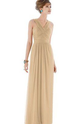 V-Neck Chiffon Long Ruched Criss-Cross Bridesmaid Dress