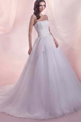 Tulle Floor Length Long Sleeveless Ruched Wedding Dress