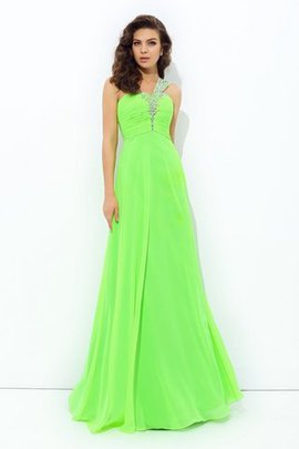 Long Floor Length Chiffon Natural Waist Sleeveless Prom Dress