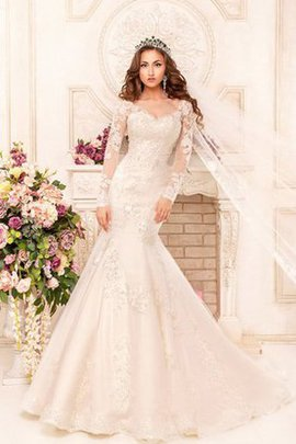 Lace Fabric Modest V-Neck Elegant & Luxurious Long Wedding Dress
